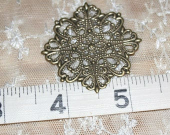 Square Filigree Findings - Quantity 5 - 43mm flower shape - Antique Bronze