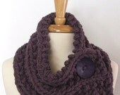 Made to Order - Chunky Knit Dusty Purple Cowl Scarf with Large Purple Button