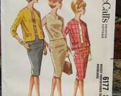 Vintage 60s Mad Men / Two Piece Womens Suit / Pencil Skirt / Dress Pattern / McCalls 6177 / Bust 36 / Uncut
