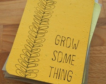 Plantable Seed Paper Greeting/Note Card, Grow Something