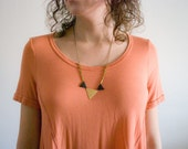 Mixed Triangle Geometric Necklace - Large Gold