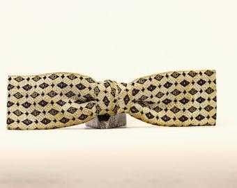 Diamond Cream Yellow Brown Bow Tie // Vintage // 3574 VTG Menswear Neckwear Neck Wear Hipster Bow Tie 7E