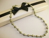 SALE - Light Green Swarovski Pearl Necklace with Sterling Silver Diamond-cut Spacers and Spring Clasp