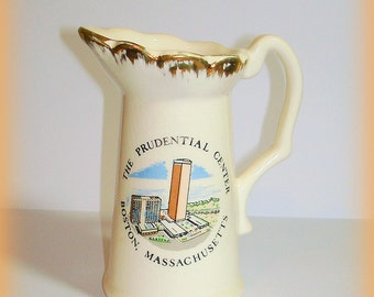 Souvenir Pitcher The Prudential Center, Boston, MA Vintage Collectible Ceramic Gold Edged