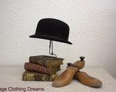 """Vintage Bowler Hat Derby Hard Crown Black Hat with Banded Brim Hard Top Bowler Hat Equestrian 21.5"""" Size 3-49"""