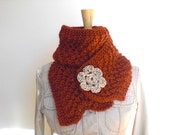 Hand knit alpaca scarf / red orange / autumn color / brick red / winter accessory / country rustic / cottage chic / baby alpaca