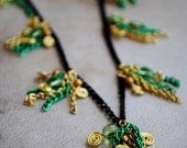 Green and Gold Tassel Necklace Beaded Chain Jewelry Loki Inspired