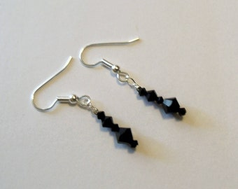 Earrings Handmade to Order Black Sample Wedding Bridal Party Jewelry Jewellery Christmas Holiday Special Occasion Gift Idea Birthday MHYO
