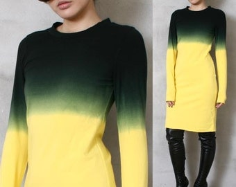 SALE 19.99 Cotton Punk Dip Tie Dye Gradient Ombre Long Sleeve Top T Shirt Dress Yellow