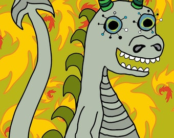"""Darby the Pale Grey Dragon - Chartreuse Flame Background - Fine Art Print - 8"""" x 10"""""""