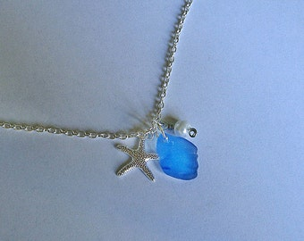 Sea glass necklace. Starfish beach glass necklace. Sea glass jewelry.