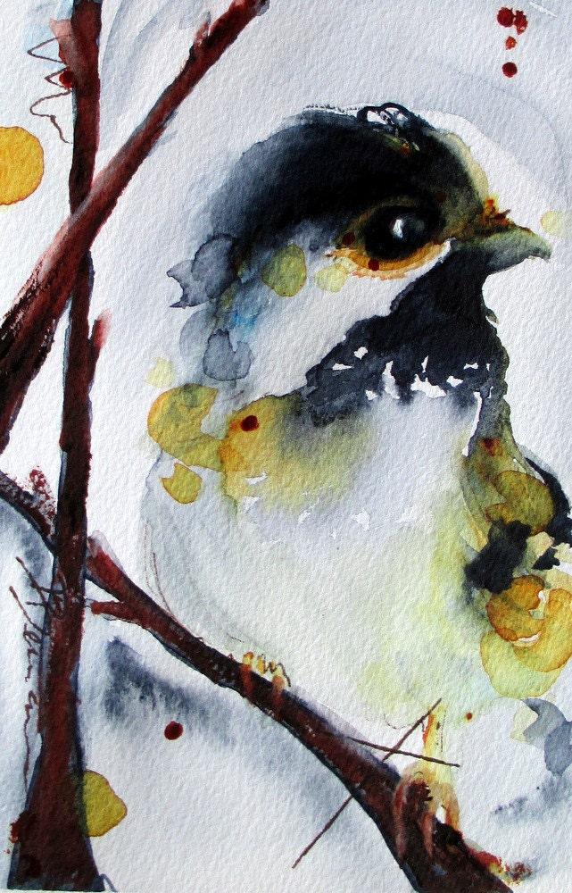 Original Watercolor Painting Chickadee Bird Art