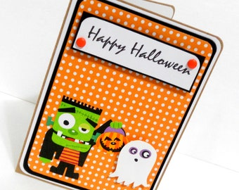 CLEARANCE-Halloween Frankenstein Card with Matching Embellished Envelope