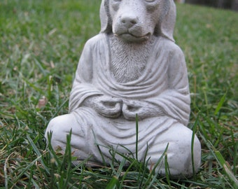 Buddha Dogs, Meditating Pet Cast In Cement And Stone, Small Concrete Dog Statue For Home And Garden, Calming Zen Posing Puppy