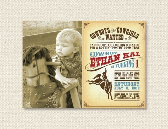 Custom Birthday Party Invitation by Mulberry Paperie - Cowboy . Cowgirl