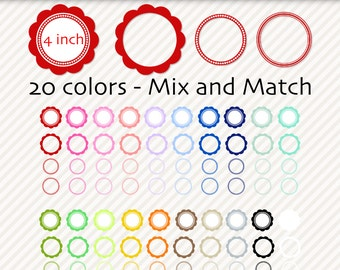 Digital frames or labels in 20 colors, frame clip art, Ready-to-use and DIY clip art frames - 81 PNG - Pack 394