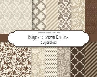 Damask digital paper, damask scrapbook paper, brown and beige, digital backgrounds - INSTANT DOWNLOAD 12 jpg files 12x12 - Pack 396