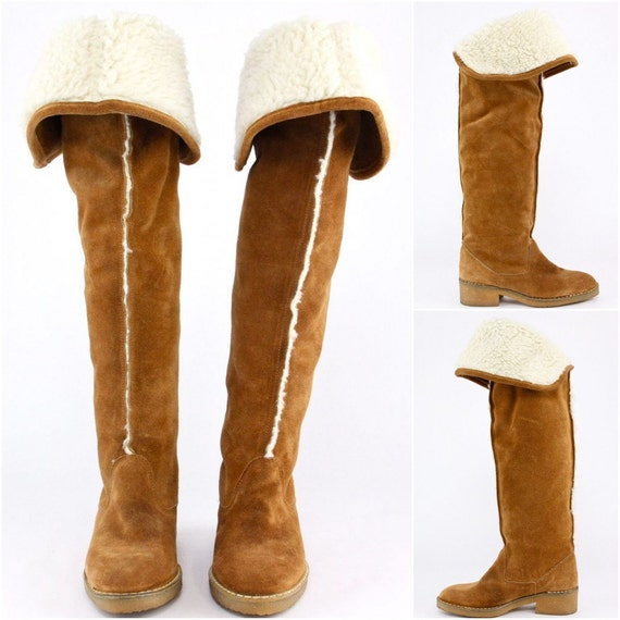 Reserved Over The Knee Shearling Boots 70s Gum Sole Sienna