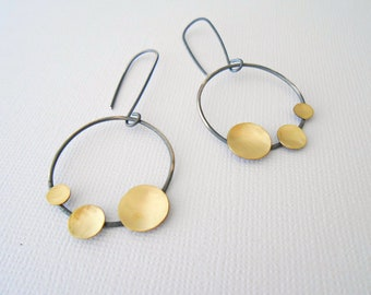 Oxidized silver earrings, unique hoop earrings, circle earrings