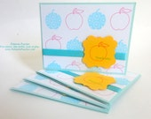 "Notes - Thank You - Teacher Gift - Set of 4 - A2 (4.25"" x 5.5"") - Sky & Yellow"