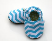 Organic Baby Blue Chevron Stripes Shoes in Turquoise and White Handmade Booties 0 3 6 12 18 months- Baby Clothes Gift for baby Organic