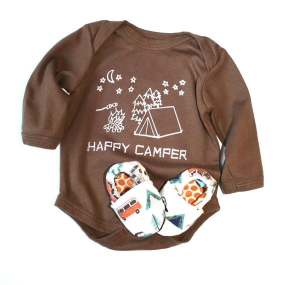 Happy Camper Eco Friendly Clothing - 0 3 6 12 18 months Short or Long sleeves Organic Camping Shoes- Baby Clothes Organic Gift for baby