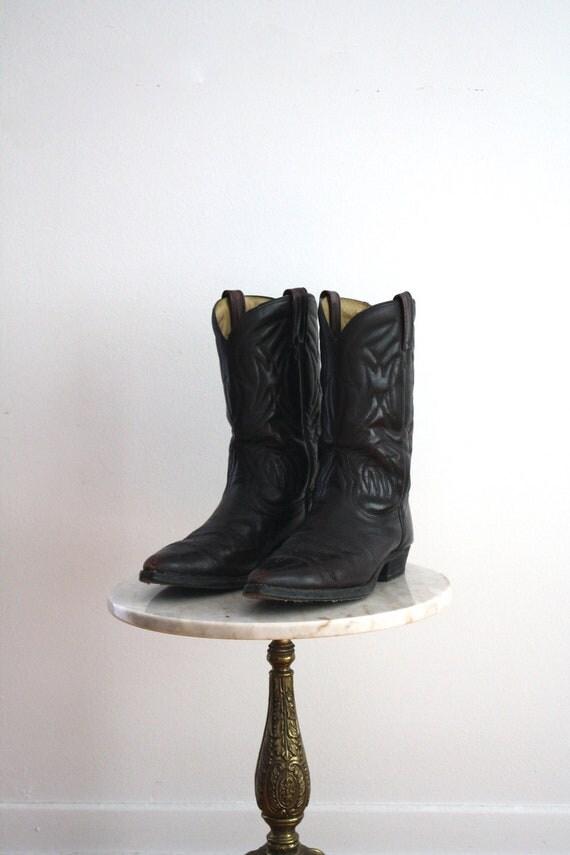 DISCOUNT CODE - Cowboy Boots Leather Red Black - Men's 10 10.5 - 1970s VINTAGE