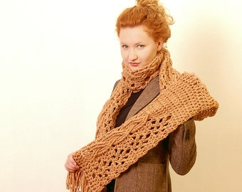 Crochet Scarf Pattern PDF - Riga Scarf - extra long scarf, photo tutorial - Crochet Scarf Pattern instant download