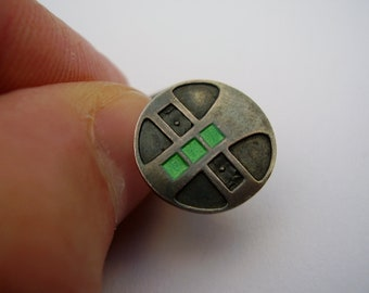 Antique German Jugendstil Art Nouveau Andreas Odenwald Pforzheim 800 Silver Enamel Cuff Link Button Brooch Silber Emaille Manschettenknöpfe