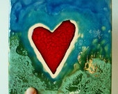 HEART  Deep Transparent Blue, Patina Green & Red Ceramic Hand Painted Tile
