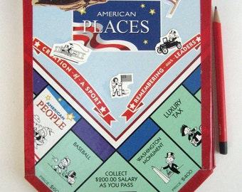 3 Cheers for the Red, White and Blue American Places Blank Sketch Book, Upcycled from Monopoly Board, Coptic Stitched, Collaged