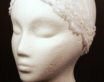 Headband With Pearl Beads Crochet Lacey Delicate And Elegant
