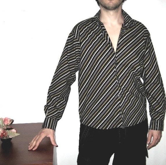 Vintage Striped Shirt Men Black Long sleeve Cotton Black/ White Precision Retro fashion Urban chic Size L Vintage by DILMA