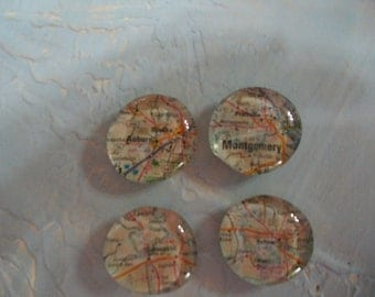 Glass Magnets with Alabama State Map Pages