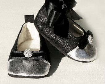 Black Baby Shoe, Toddler Ballet Slipper, Bootie Crib Shoe, Flower Girl Shoe, Baby Girls Ballet Flat, Wedding, Special Occasion, Baby Souls