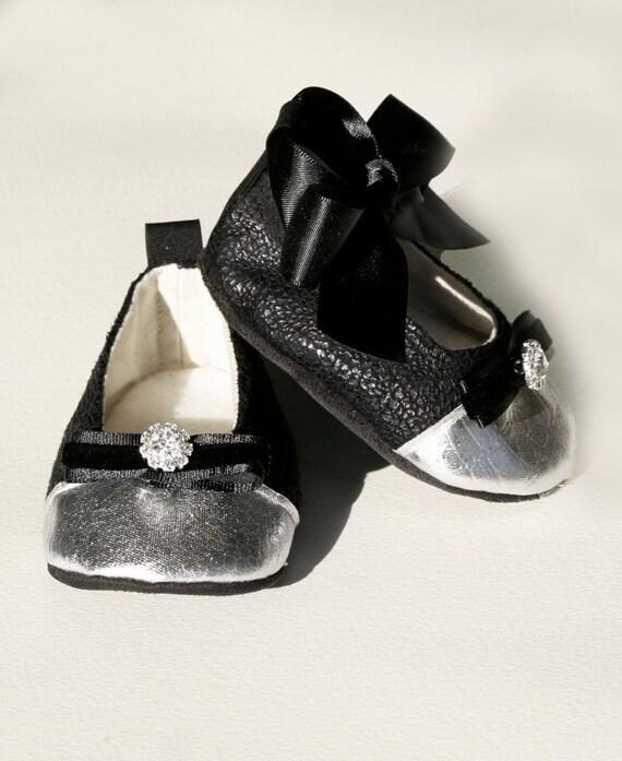 black baby shoe toddler ballet slipper bootie crib shoe