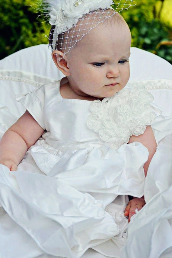 Dupioni Silk Baby Girl Blessing Christening Dedication Baptism Confirmation Dress Gown 9-12 mo