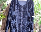 Gypsy  Black Velvet Bolero / Bohemian Embroidered crushed velvet Shirt Dress Jacket  Plus size
