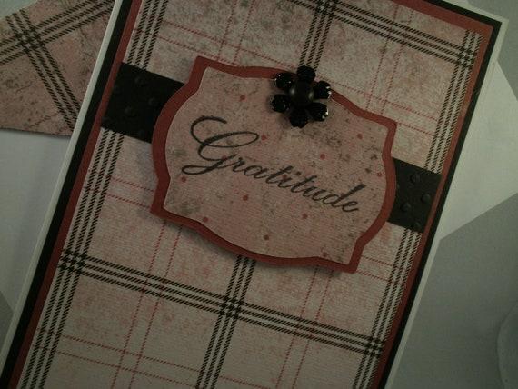 Gratitude - Handmade Thank You Card with Embellished Envelope
