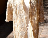 vtg1950s Cream Lace Organza Fully Embroidered floral Silk Ribbon Formal Coat or Jacket m