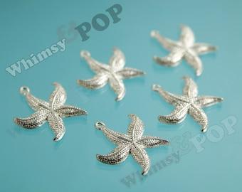 5 - Starfish Pendant Charm, Starfish Alloy Charms, 23.5 mm  x  26 mm  x  3mm (2-2I)