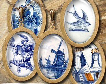 Delftware Pottery - 30x40mm and 22x30mm ovals - Digital Collage Sheets CG-668O - for Pendants, Cabochons, Cameos, Crafts