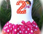 Girls Custom Dress Custom Boutique Dress Girls Dress Baby Dresses Number Dress Dora Birthday Dress Available in 0-3 months through Size 6/8