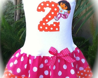 Girls Custom Dress Custom Boutique Dress Girls Dress Baby Dresses Number Dress Dora Birthday Dress Available in 0-3 months through Size 6/8