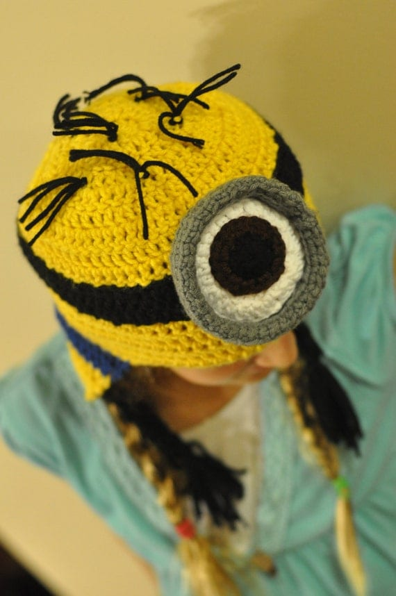 3D Despicable Me Minion Crocheted Ear Flap Hat (Available in 1 or 2 eyes)