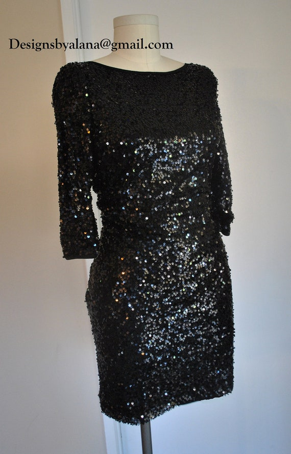 Black or Blue Sequin Dress 3/4 sleeves party cocktail dress - Custom made for you - Any Size available