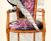 Acrylic paintings Illustration Original Prints Drawing Giclee Posters Mixed Media Art Holiday Decor Gifts:  Bird on armchair x