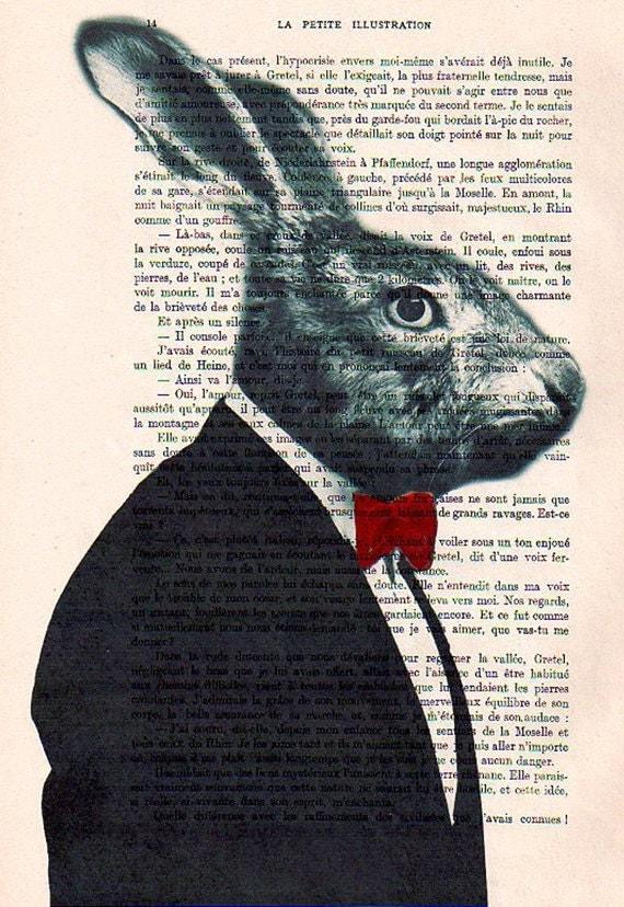 Mister Rabbit posing- ORIGINAL ARTWORK Hand Painted Mixed Media on 1920 famous Parisien Magazine 'La Petit Illustration' by Coco De Paris