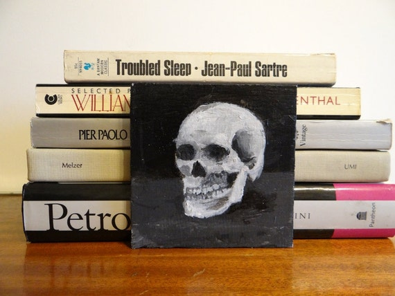 Small Black and White Painting of a Skull - Affordable Dark Artwork - Gray Acrylic Painting - Grey Original Painting - Size 4x4