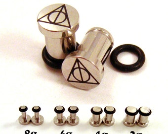 Sign of the Deathly Hallows Surgical Steel Plugs - Single Flared - 8g (3mm) 6g (4mm) 4g (5mm) 2g (6mm) Single Flare Metal Ear Gauges